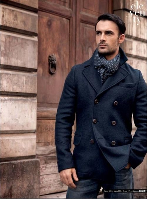 Double Breasted Navy Wool Coat, Pin Dot Silk Scarf, and Dark Fitted Jeans. Men's Fall/WinterFashion.