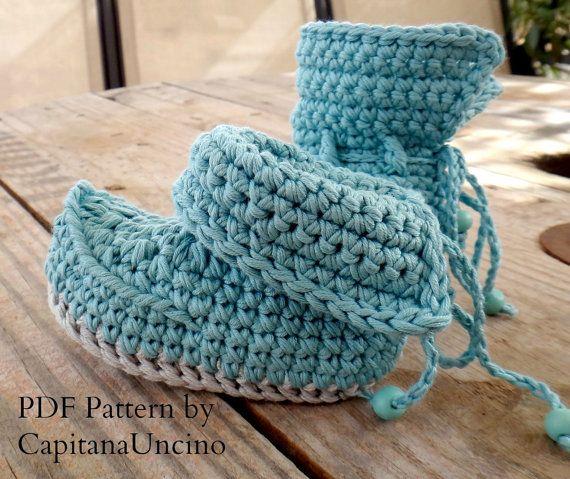 Crochet PATTERN Crochet Baby Booties, Lappish Booties, Fairy, Pixie, Elf Booties 0-6 and 6-12 months