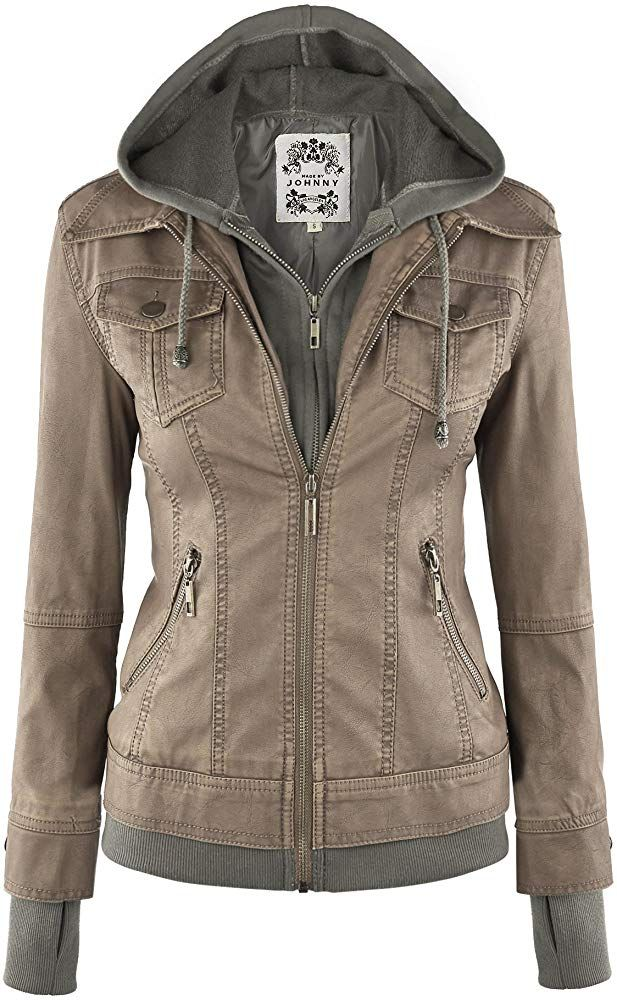 Made By Johnny WJC664 Womens Faux Leather Jacket with