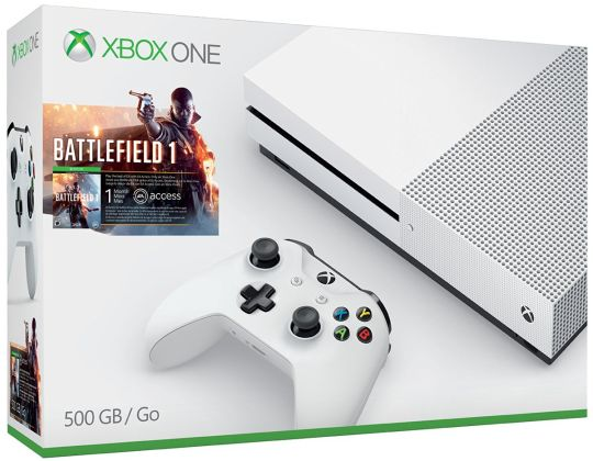 Today Deals $50 OFF Xbox One S 500GB Console - Battlefield 1 Bundle | Amazon:   Today Deals $50 OFF Xbox One S 500GB Console - Battlefield 1 Bundle | Amazon #TodayDeals #DailyDeals #DealoftheDay - Discover a world at war through an adventure-filled campaign or in epic multiplayer battles with up to 64 players on Xbox Live. Watch 4K Blu-ray movies and stream 4K content on Netflix and Amazon Video. Read customer reviews and find great Gaming Console deals on Amazon today!http://bit.ly/2gurMTk…