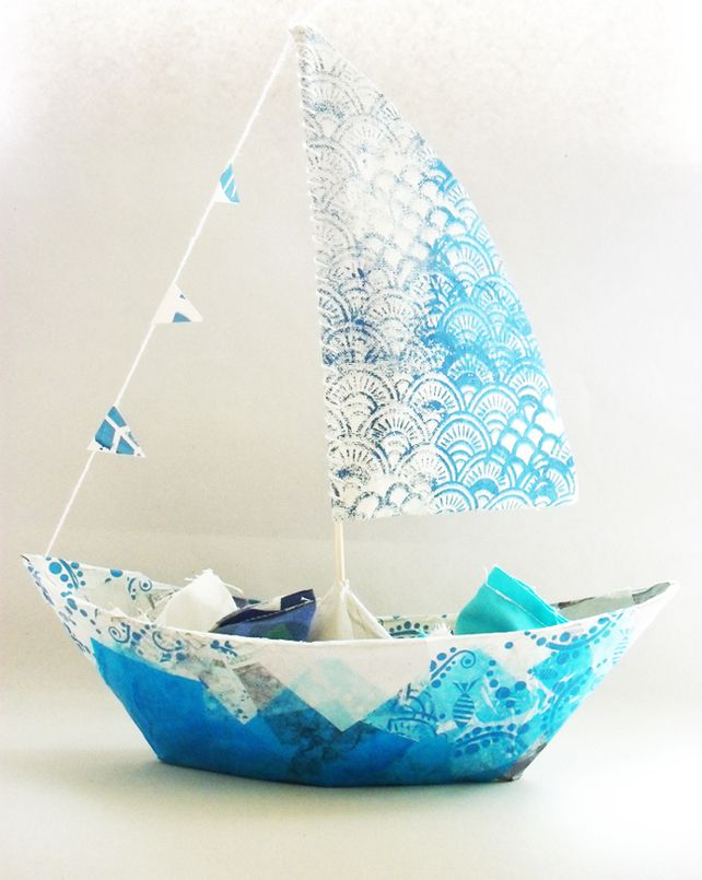Screen Printed Papier Mache Boat £15.00