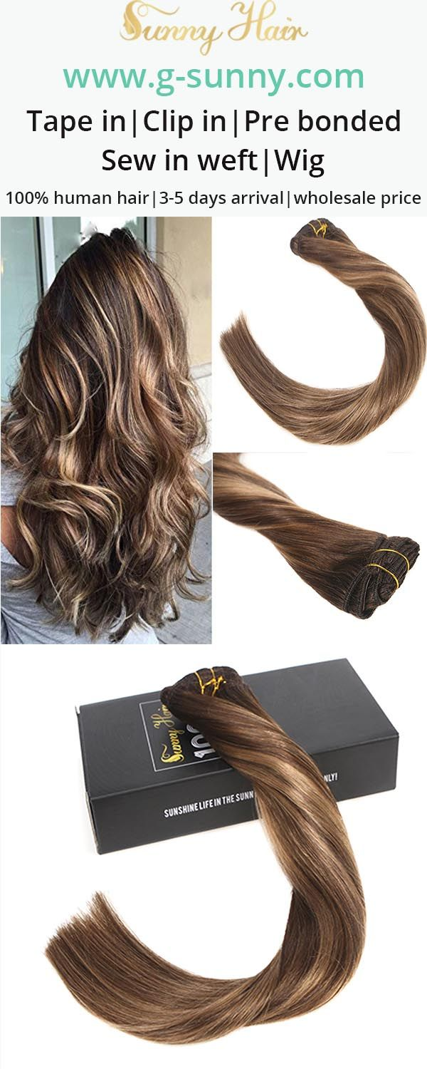 Sunny Hair 100% real human hair clip in hair extensions, brown and blonde mixed hair color balayage color effect. Professional salon quality, Factory direct selling with wholesale price. www.g-sunny.com