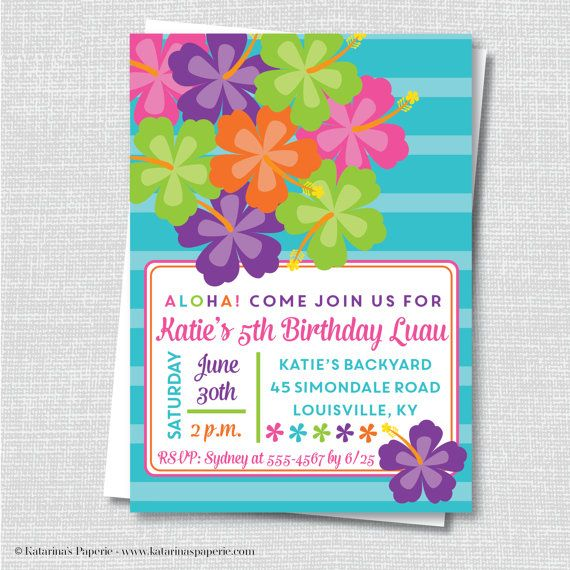 Luau Party Invitation  Hawaiian Luau Birthday by KatarinasPaperie