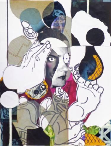 """Artist: Pascal Marlin; Paint 2016 Collage """"femme dans fauteuil"""""""