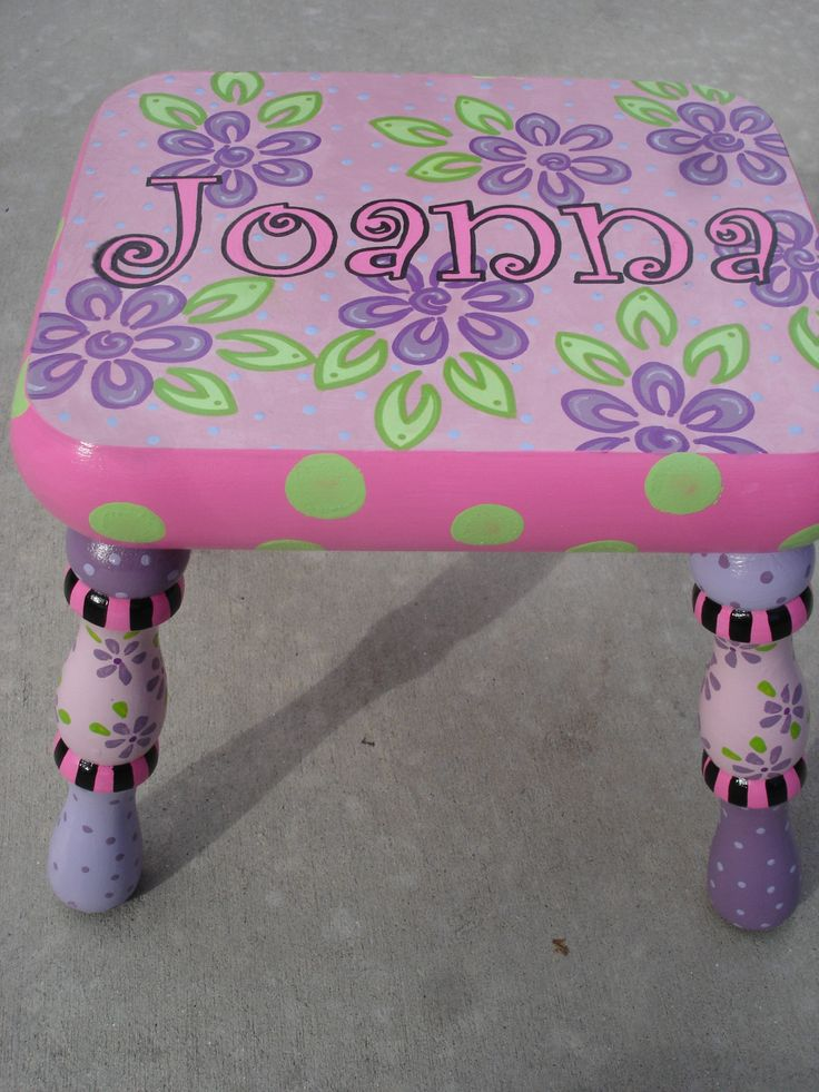Hand Painted Children S Furniture Step Stool For Sassy