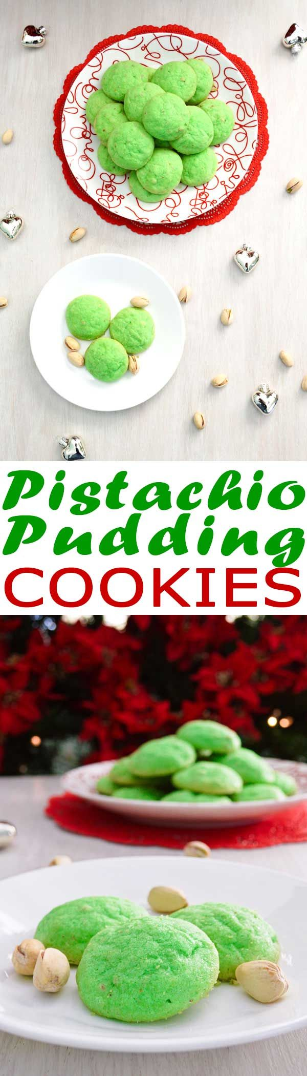 Pistachio Pudding Cookies - easy Christmas cookie recipe that are crisp on the outside with a soft interior! #christmas #cookies