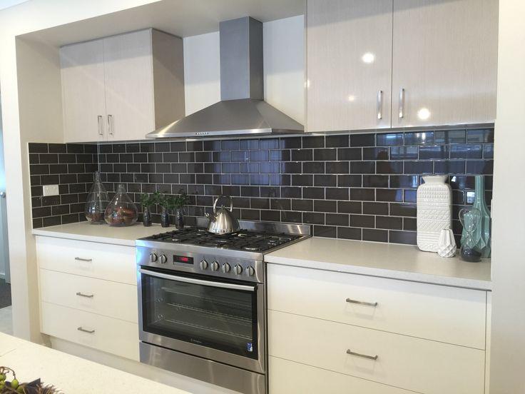 Charcoal or black splashback tiles