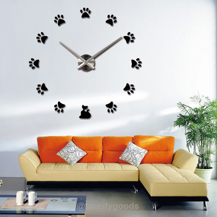 Cat Paw Print Mirrored Wall Clock - Home Decor - Tac City Goods Co - 1
