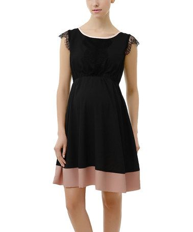 Loving this Black Nell Maternity Cap-Sleeve Dress on #zulily! #zulilyfinds