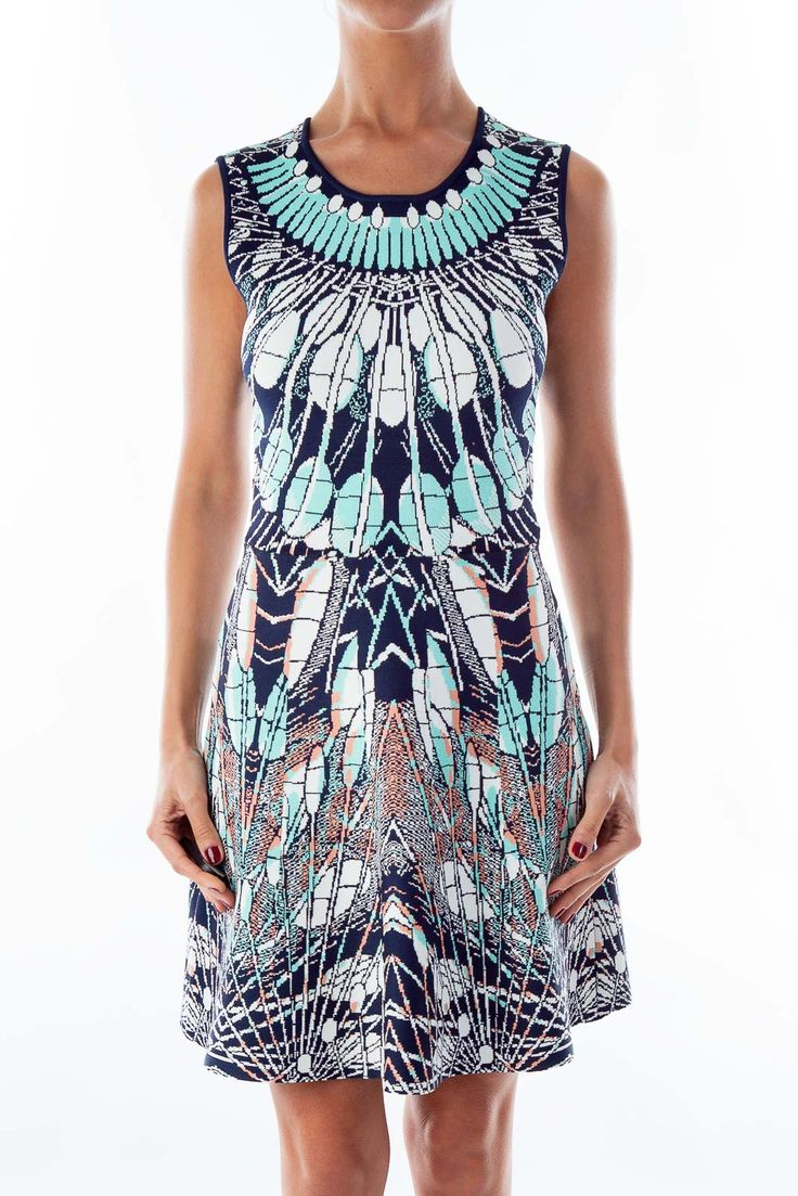 Vibrant cocktail dresses for a summer wedding Turquoise & Navy A-Line Dress by BCBG MAXAZRIA #silkroll