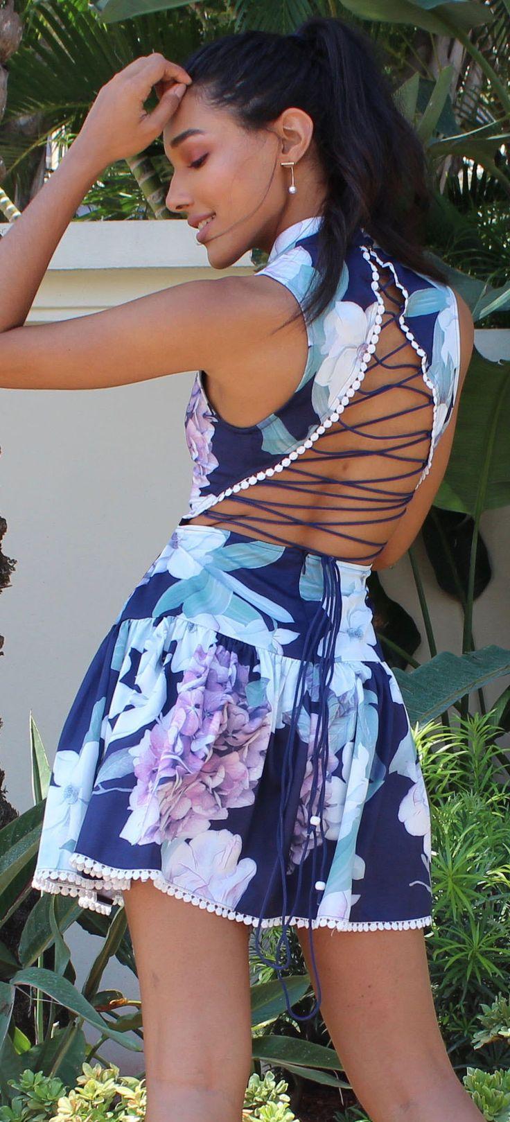 Flower Market Navy Floral Lace-Up Back Dress