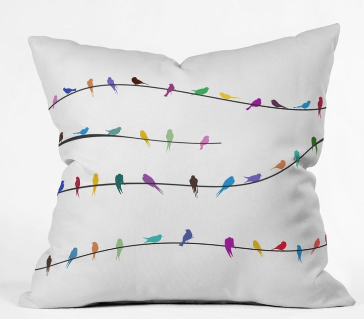 BIRDS ON WHITE CUSHION