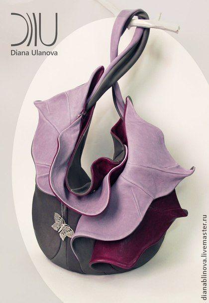 """сумка кожаная """"Орхидея"""" - тёмно-бирюзовый,однотонный,Красивая сумка,дизайнерская сумка"""