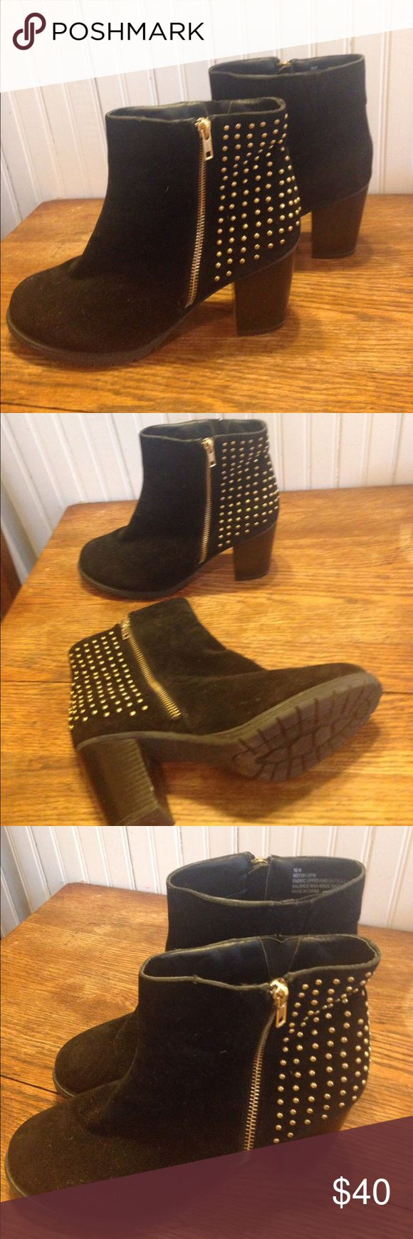 """Ashley Stewart black and gold boots size 10 Ashley Stewart black and gold boots size 10, gold tone studs, gold tone zipper, man made materials, 3.5"""" heel , good condition Ashley Stewart Shoes Heeled Boots"""