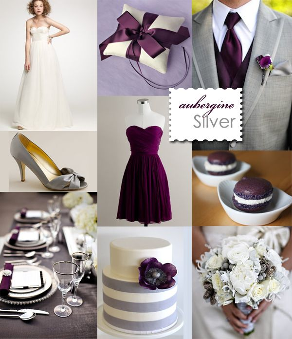 Aubergine Eggplant Silver Wedding Grey I Like These Colors