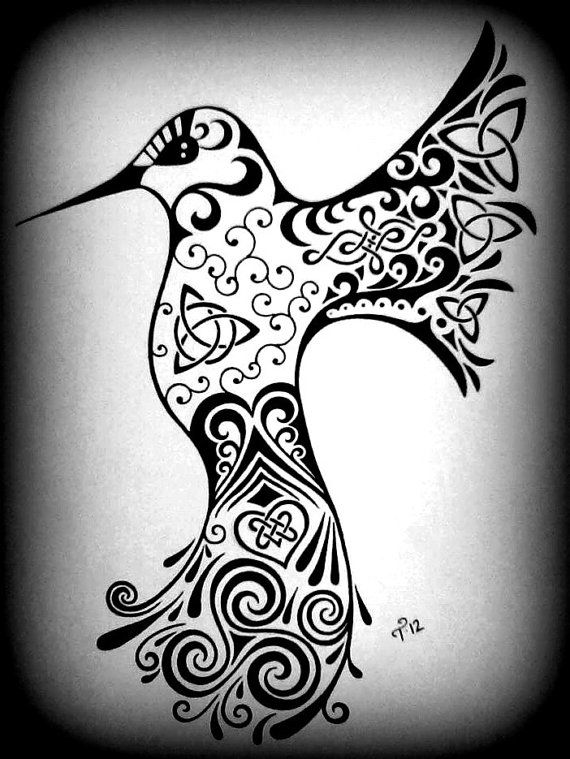 celtic hummingbird drawing custom black white by tarren on etsy tattoo pinterest. Black Bedroom Furniture Sets. Home Design Ideas