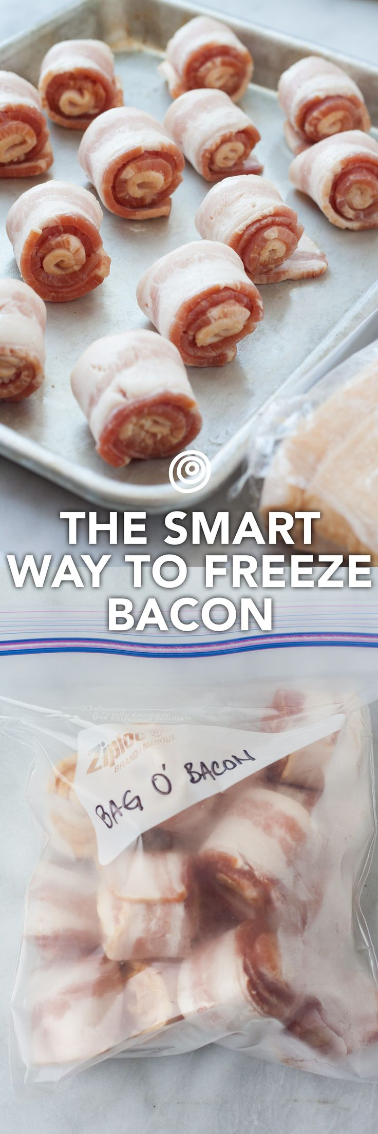 This is the BEST way to freeze bacon. Add this to your kitchen and cooking tips and tricks board. Makes weekend breakfasts, weeknight pastas, and special summer BLTs so FAST to make because the rolls defrost in no time, and you can pull out exactly how much you need.