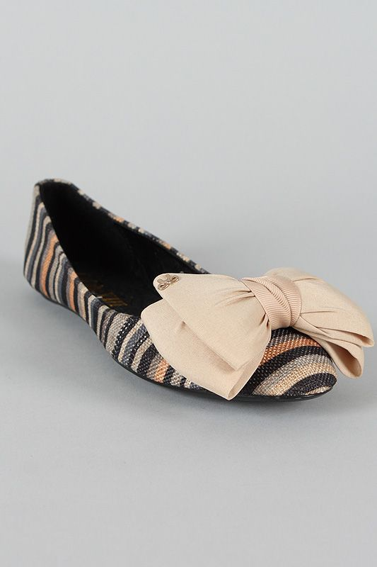 Gianna-4 Bow Striped Round Toe Ballet Flat: When Ballet, Round Toe, Color Ballet, Gianna 4 Bow, Bows, Bow Striped, Amen Fashion, Striped Round, Ballet Flats