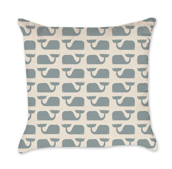 Pillow Cover Whale Pattern in Blue - Boys Room Cotton Duck Natural Pillow Cover - Nautical Nursery Pillow Cover