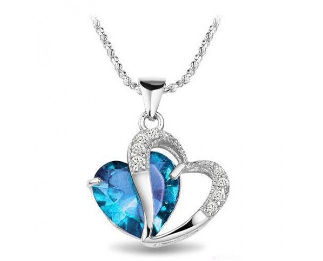 Never To Be Parted Love Heart Women's Sterling Silver Necklace - USD $15.95