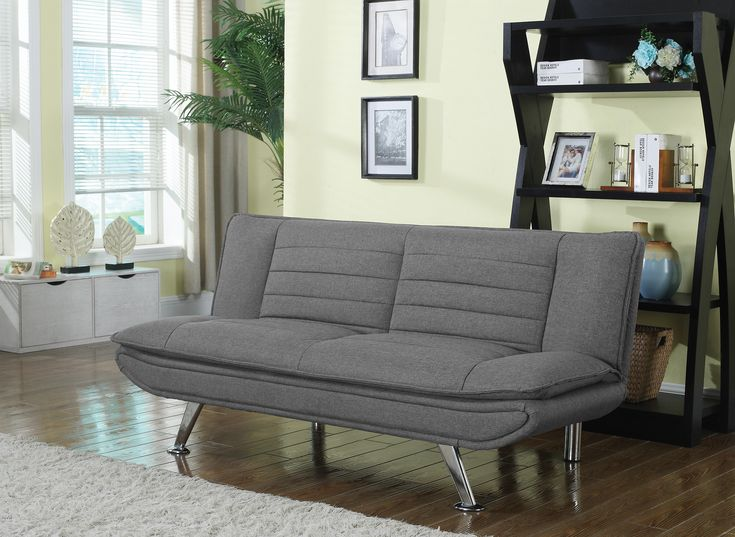 Transitional Wood Fabric Metal Sofa Bed With Pillow Top Seat Gray In 2020 Sofa Bed Futon Sofa Sofa Couch Bed