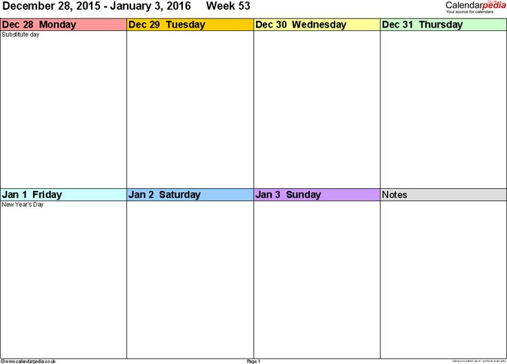 The  Best Week Calendar  Ideas On   Free