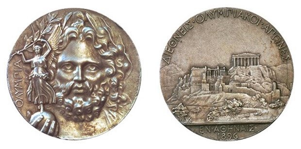 Front and reverse side of the 1896 first place silver medal.