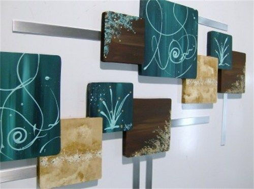 Huge Teal Brown Contemporary Abstract Square Wood Metal Wall Hangings Brown Tealteal Greenteal Decorationsliving Room