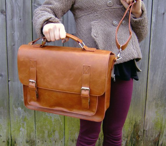 brown leather messenger bag  leather satchel handmade by Lemum