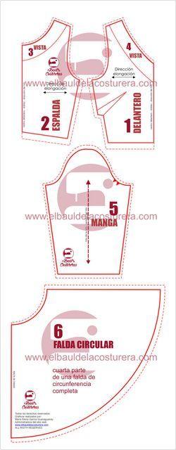 Molde de costura mini vestido corto falda circular skating dress
