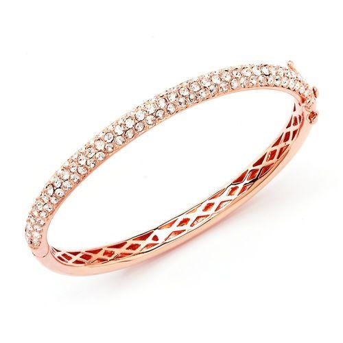 Stone Mini Bangle Rose Gold Plated with Swarovski® Crystals