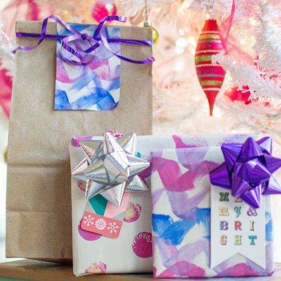 Simple techniques and materials to create your own wrapping paper for the holidays!