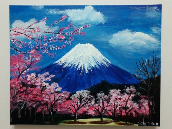 Beautiful Printing Acrylic Painting Of The Fuji Mountain With Lovely Cherry Blossoms Available Japanese Painting Canvas Art Painting Nature Paintings Acrylic