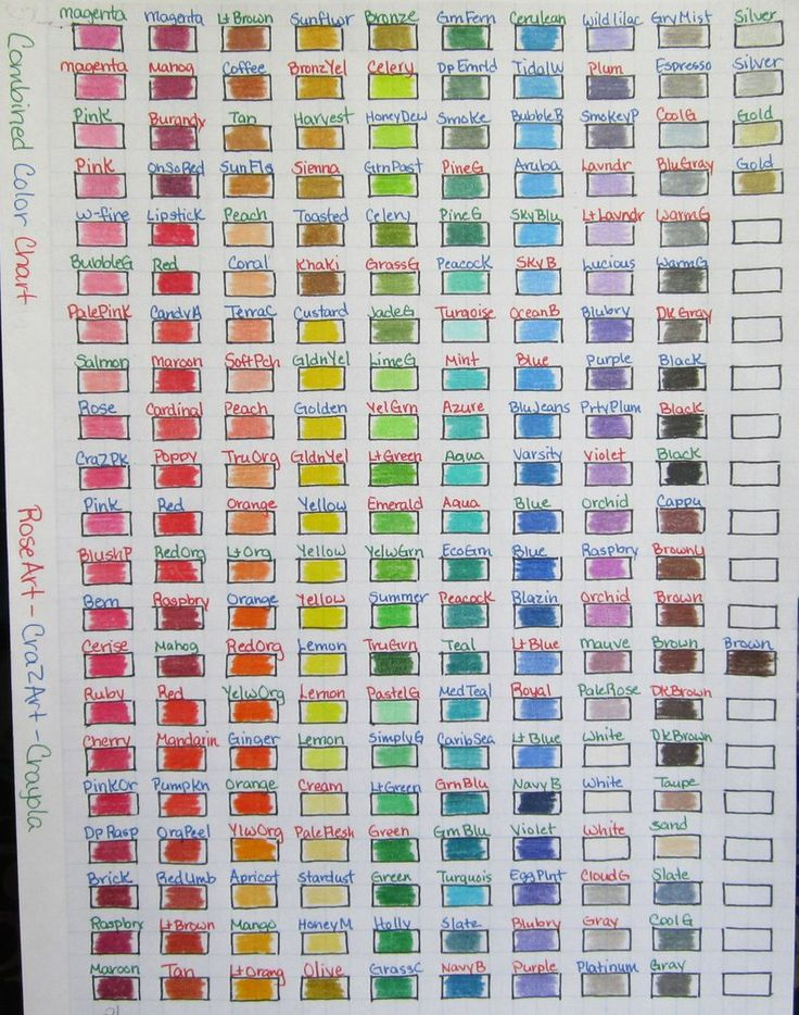 Combined Color Chart Rose Art Crazart Crayola By