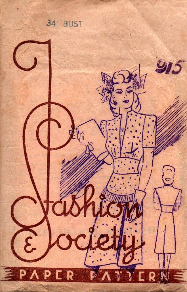 Fashion Society 915 Womens Classic 40s Dress RARE Vintage Sewing ...