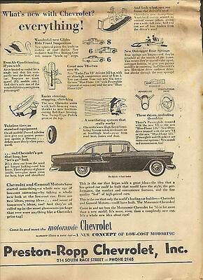 VINTAGE AD THE GLASGOW TIMES NOVEMBER 5, 1954 KENTUCKY - PRESTON-ROPP CHEVROLET $7.99.