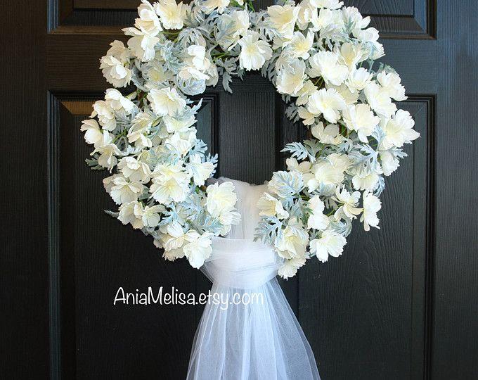 matrimonio corona estate ghirlande porta ghirlande corona esterna tulle nuziale doccia decorazione bianco avorio corone paese francese matrimoni