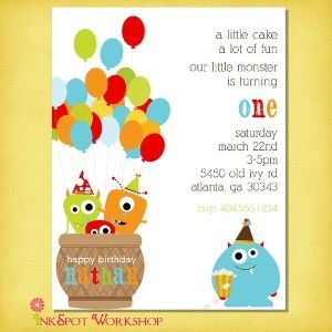 Little Monster Birthday Party | Little Monster Birthday Party Invitation Set by... | Shop food ...
