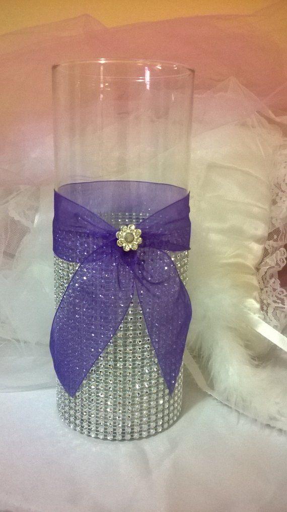 Purple Wedding Theme Centerpiece Rhinestone Vase Bling Vase