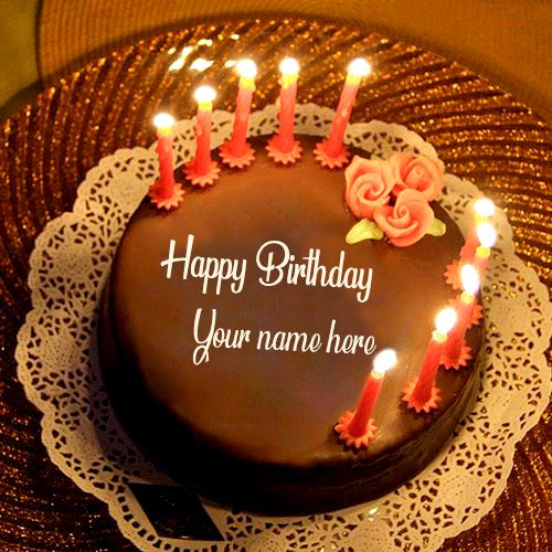 Write Your Name On Beautiful Candles Birthday Cake Images