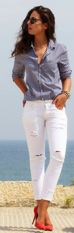 <3 COTTON BUTTON DOWN : PERFECT FOR SUMMER <3 45 Casual Summer Work Outfits To Wear To Office