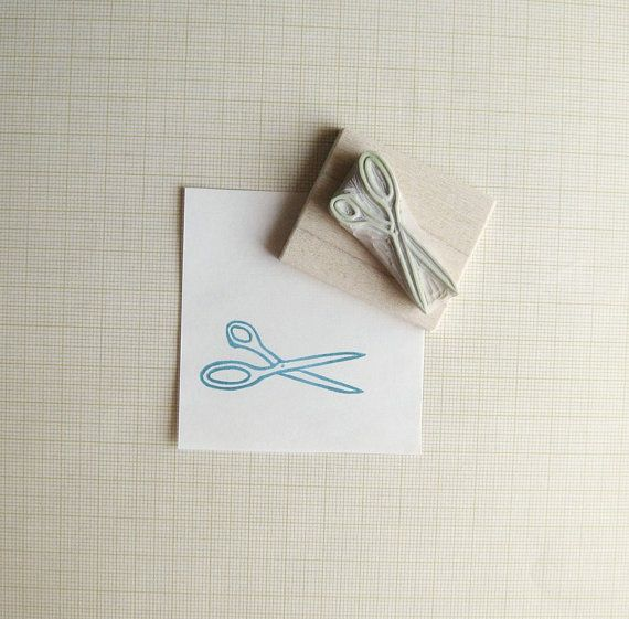 Little Scissors Hand Carved Rubber Stamp by extase on Etsy, $10.00