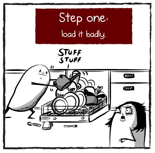 How to perfectly load a dishwasher - The Oatmeal. The lady's mad face gets me every time I read this. I can't stop laughing!