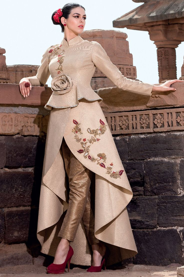Samyakk Beige Silk Embroidered Salwar Suit
