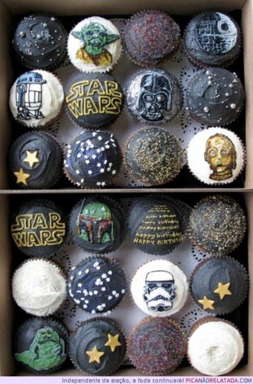 Star Wars cupcakes: Starwars Cupcakes, Geek, War Parties, Star Wars Cupcakes, Stuff, Stars War Cupcakes, Food, Cups Cakes, Birthday Ideas
