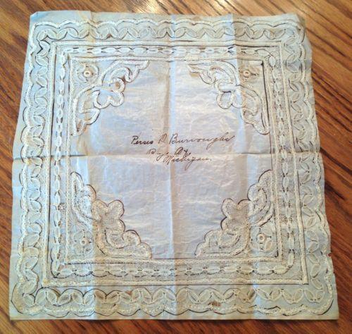 Поразительная старинных кружев триммер носовой платок носовой платок - надпись