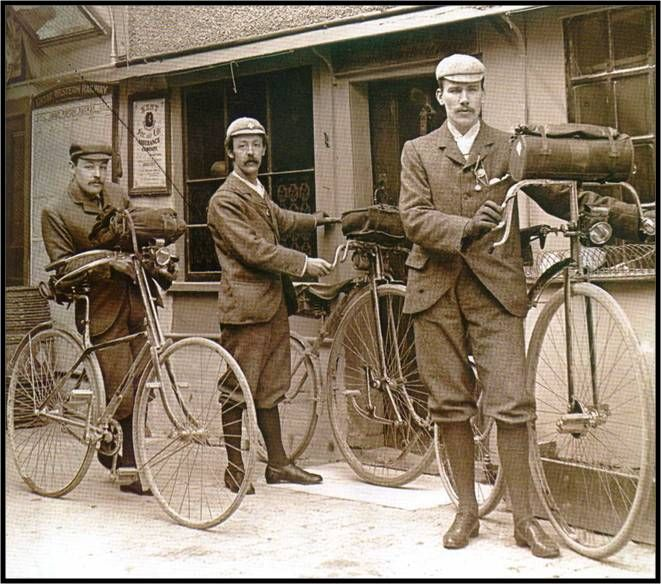 Innovation: three different types of bicycles, 1890s.