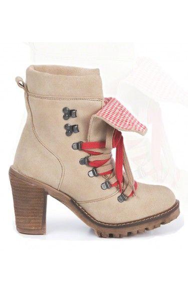Trachten Stiefel Leinen/Leder - 3080 - sand