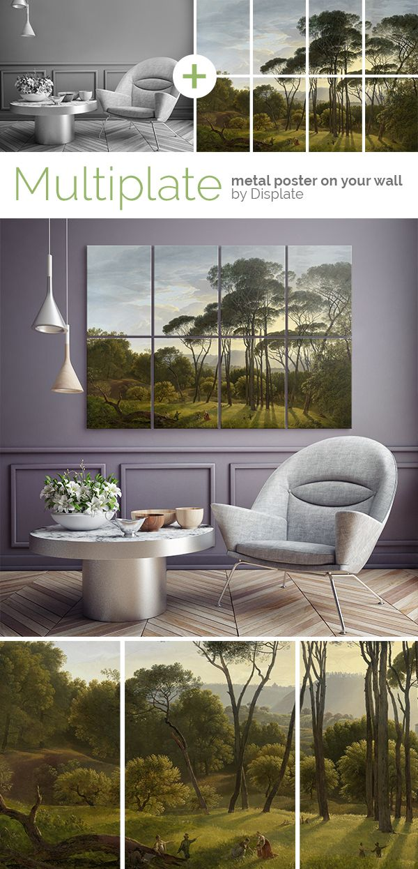 """Italian Landscape with Umbrella Pines"" by Hendrik Voogd. Beautiful artwork from Rijksmuseum. Change your interior with this gallery quality giclée print on 8 premium quality 45cm / 32cm thick metal plates. Click through to see more large size artworks printed on metal! #multiplate"