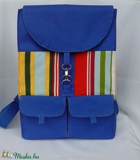 Kék,csíkos hátizsák,hátitáska (Teafa) - Meska.hu